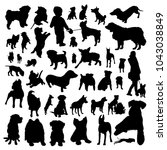 dogs silhouettes black | Shutterstock .eps vector #1043038849