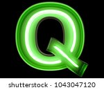 neon green light alphabet... | Shutterstock . vector #1043047120