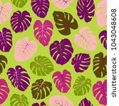 vector tropical pattern with... | Shutterstock .eps vector #1043048608