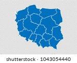 poland map   high detailed blue ...   Shutterstock .eps vector #1043054440