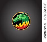 dragon with fire mascot... | Shutterstock .eps vector #1043056519