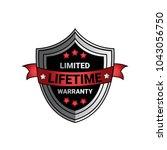 limited lifetime warranty sign... | Shutterstock .eps vector #1043056750