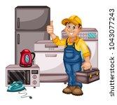 plumbing specialist with... | Shutterstock .eps vector #1043077243