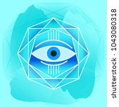 ancient mystical sign. the eye. ...   Shutterstock .eps vector #1043080318