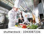the chef prepares a dish in the ... | Shutterstock . vector #1043087236