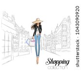 beautiful fashion model in hat. ... | Shutterstock .eps vector #1043090920