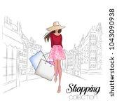 beautiful fashion model in hat. ...   Shutterstock .eps vector #1043090938