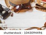traveler items vacation... | Shutterstock . vector #1043094496
