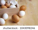 free range eggs   Shutterstock . vector #1043098246