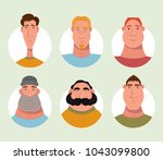 set of male characters avatars. ... | Shutterstock .eps vector #1043099800