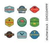 set of vintage butchery logos.... | Shutterstock .eps vector #1043104999