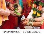 hindu wedding ceremony. details ... | Shutterstock . vector #1043108578