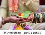 hindu wedding ceremony. details ... | Shutterstock . vector #1043110588