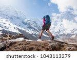 trekker on the way to annapurna ...   Shutterstock . vector #1043113279