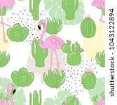 seamless flamingo tropic...   Shutterstock .eps vector #1043122894