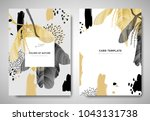 Greenery greeting/invitation card template design, leaves with flowers with hand drawn doodle graphics on grey background, black and golden tones | Shutterstock vector #1043131738