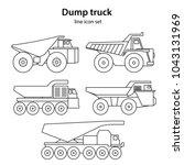 set of five dump truck line icon | Shutterstock .eps vector #1043131969