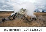 smoking fumarole near hverir... | Shutterstock . vector #1043136604
