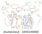 hand drawn group of people... | Shutterstock .eps vector #1043140000