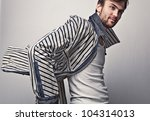 elegant young handsome man.... | Shutterstock . vector #104314013