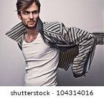elegant young handsome man.... | Shutterstock . vector #104314016