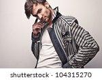 elegant young handsome man.... | Shutterstock . vector #104315270