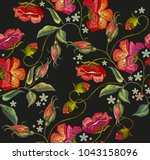 embroidery spring poppies... | Shutterstock .eps vector #1043158096