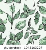 colorful pattern with mint leafs | Shutterstock .eps vector #1043163229