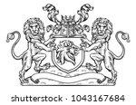 a medieval heraldic coat of... | Shutterstock .eps vector #1043167684