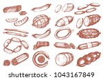 vector set with sausages on the ... | Shutterstock .eps vector #1043167849