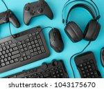 gamer workspace concept  top... | Shutterstock . vector #1043175670