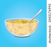 corn flakes   cereal in bowl... | Shutterstock .eps vector #1043176993