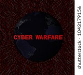 cyber warfare text with earth... | Shutterstock . vector #1043179156