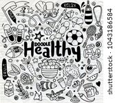 healthy lifestyle concept hand... | Shutterstock .eps vector #1043186584