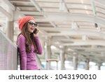 asian business woman girl talk...   Shutterstock . vector #1043190010