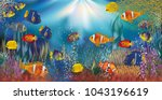 underwater tropical wallpaper ... | Shutterstock .eps vector #1043196619