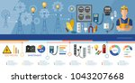professional electrician... | Shutterstock .eps vector #1043207668