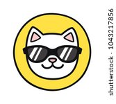 funny cartoon cat face in cool... | Shutterstock . vector #1043217856