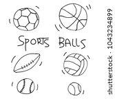 sports balls. vector pattern in ... | Shutterstock .eps vector #1043234899