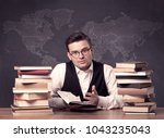 a young ambitious geography... | Shutterstock . vector #1043235043