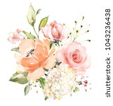 watercolor flowers. floral... | Shutterstock . vector #1043236438