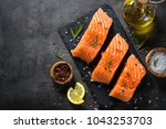 Stock photo fresh fish salmon fillet on black 1043253703