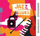 jazz music festival poster with ... | Shutterstock .eps vector #1043260660