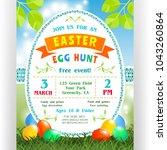 easter egg hunt poster template.... | Shutterstock .eps vector #1043260864