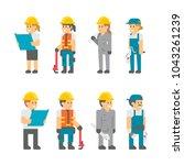flat design building workers... | Shutterstock .eps vector #1043261239