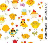 easter seamless pattern with...   Shutterstock .eps vector #1043266570