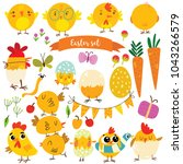 happy easter. cute birds... | Shutterstock .eps vector #1043266579