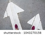 shoes standing at the crossroad ... | Shutterstock . vector #1043270158