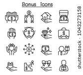 bonus icon set in thin line... | Shutterstock .eps vector #1043273158