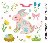 illustration with rabbit and...   Shutterstock .eps vector #1043280379